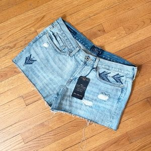 Lucky Brand The Cut Off Embroidered Jeans Shorts